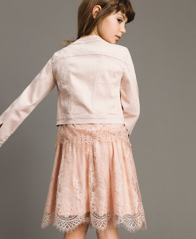 Bull stretch jacket with lace Blossom Pink Child 191GJ2062-04