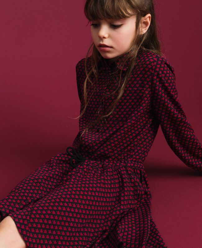 Crêpe shirt dress with hearts Tiny Heart Print Child 192GJ2530-01