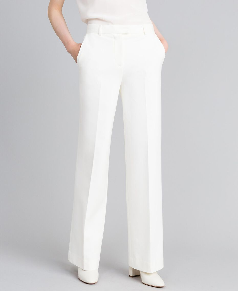 Pantaloni in punto Milano Bianco Neve Donna PA8218-01