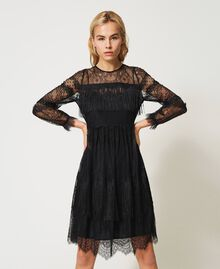 Tulle dress with lace and fringes Black Woman 202TP2374-02