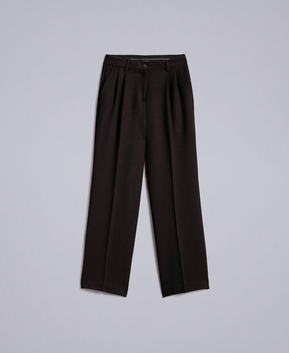 Pantalon palazzo en laine bi-stretch Noir Femme TA8272-0S