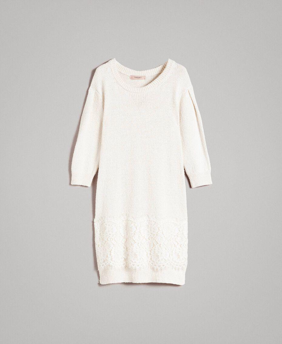 Robe en maille avec dentelle Blanc Neige Femme 191TP3200-0S