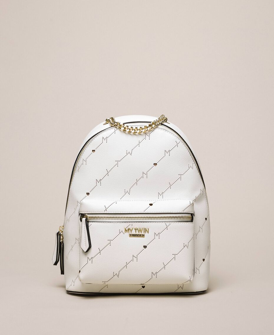 "Sac à dos en similicuir perforé avec logo Blanc ""Ice"" Femme 201MO8012-03"