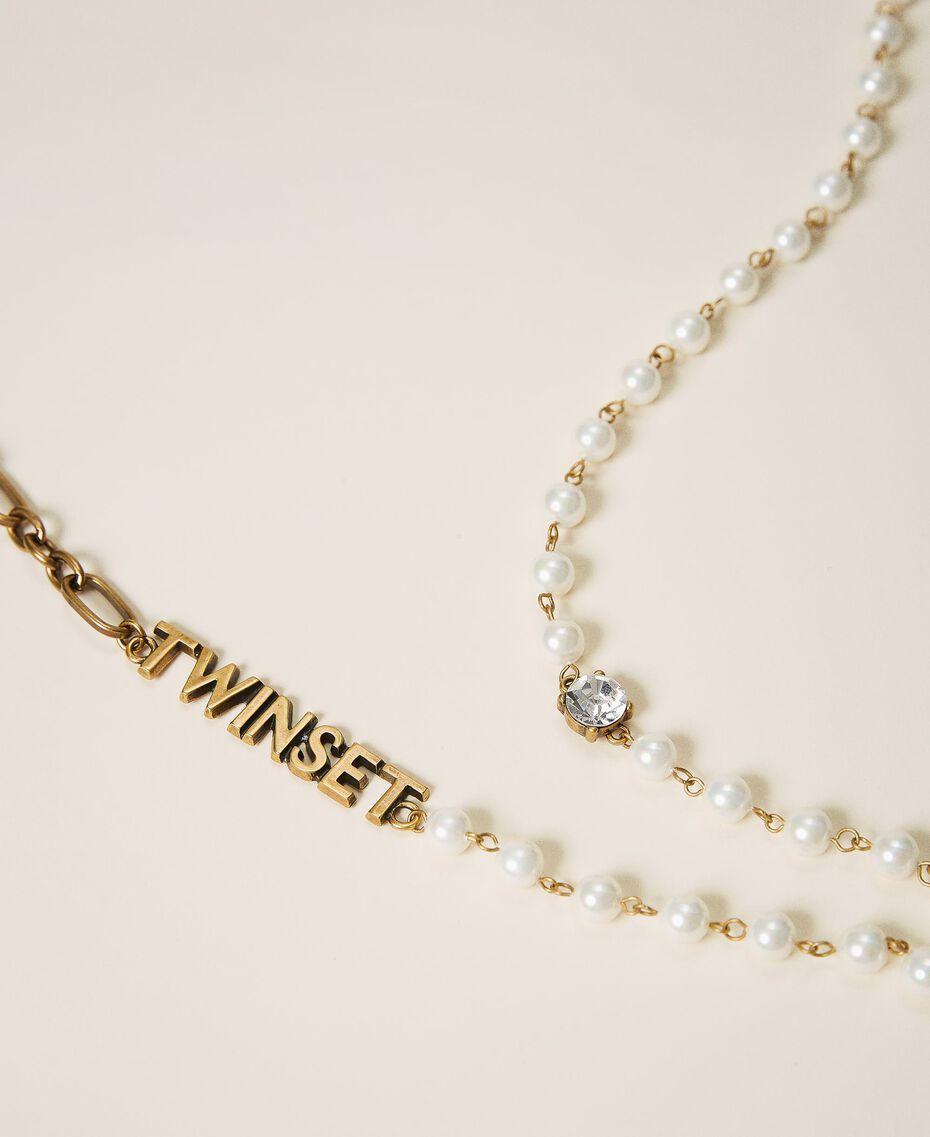 Sautoir avec perles et logo Blanc Parchemin Femme 202TO5048-02