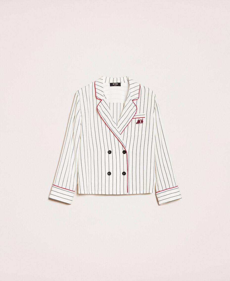 Camicia in crêpe de Chine a righe Rigato Vaniglia / Nero Donna 201MP2100-0S