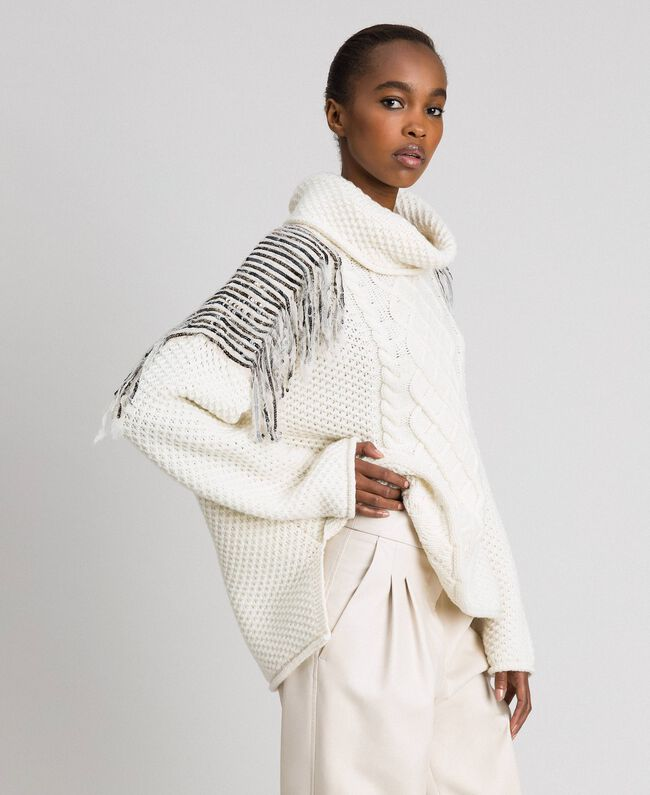 Oversize jumper with sequins and fringes White Snow Woman 192TT3231-03