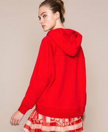 Maxi sweat avec logo brodé Rouge «Lave» Femme 201TP2080-03