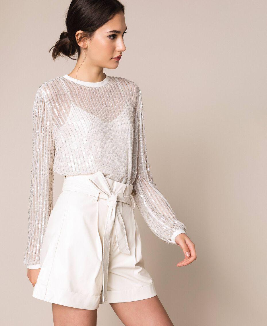 """Short en similicuir avec ceinture Blanc """"Soie"""" Femme 201ST2115-02"""