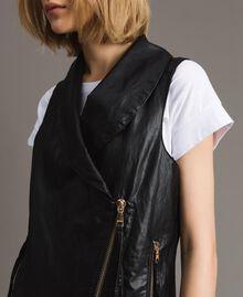 Faux leather zipped waistcoat Black Woman 191MT2280-05