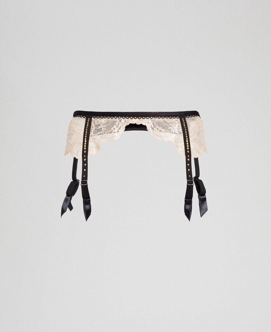 Laminated lace garter belt with studs Black Woman 192LL6JZZ-0S