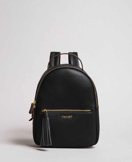 Faux leather backpack with tassel