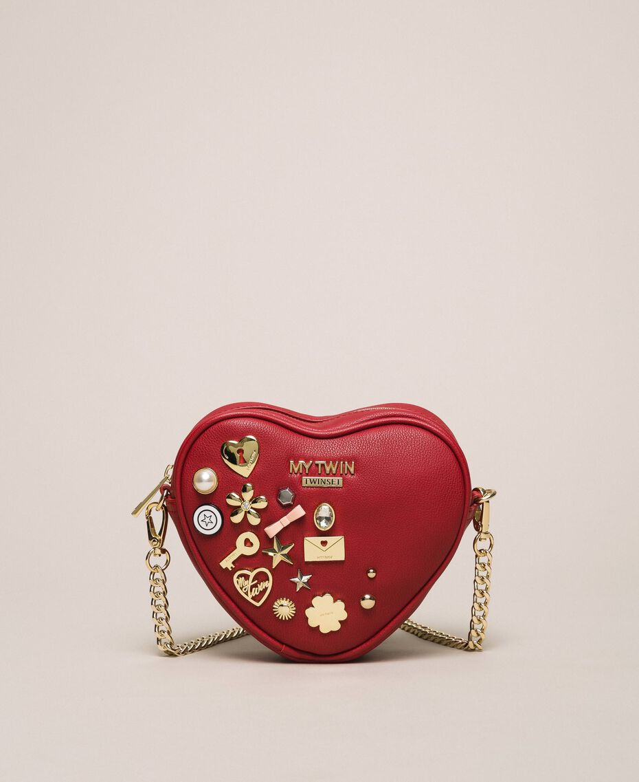 Faux leather heart shaped shoulder bag Venetian Red Woman 201MA7053-02