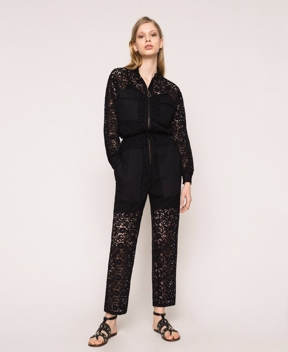 Macramé lace jumpsuit Black Woman 201TP2195-01