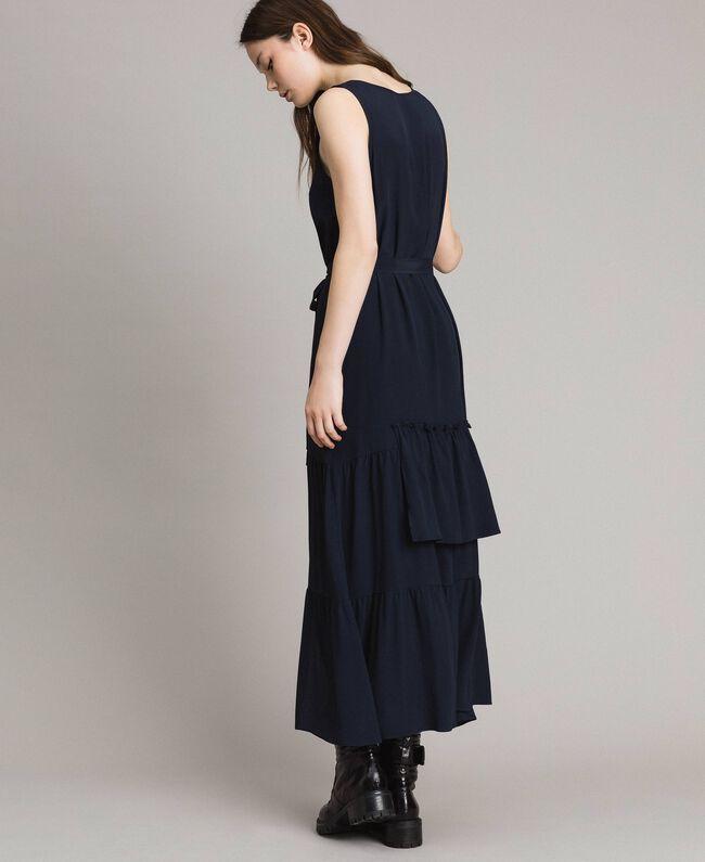 Silk-mix long dress Deep Blue Woman 191TP2461-03