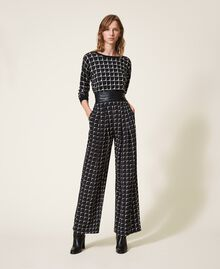 "Printed crêpe de Chine palazzo trousers Black /""Nude"" Beige Optical Print Woman 202ST2508-0T"