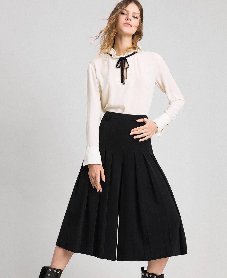 Crêpe de Chine blouse with flounce Vanilla White Woman 192MP2160-01