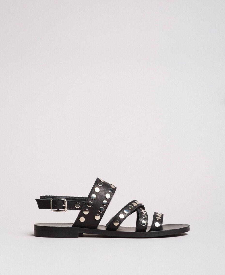 Sandales en cuir ornées de clous Noir Femme 191TCP04G-01