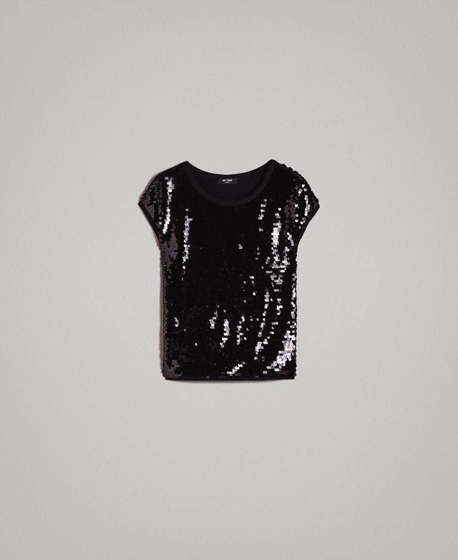 Sequined T-shirt Black Woman 191MP206G-0S