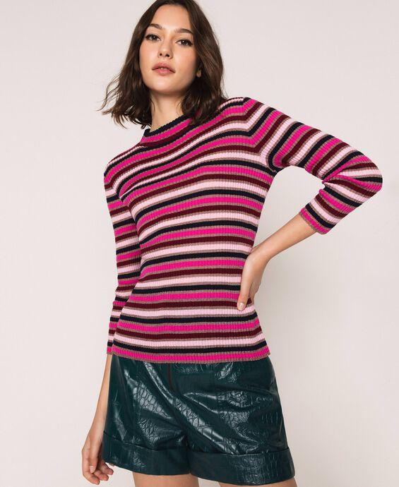 Multicolour stripe turtleneck jumper