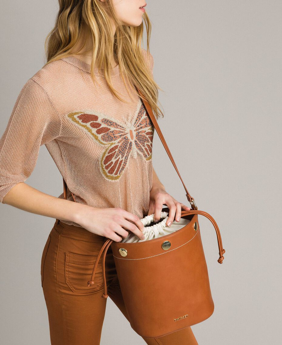 Faux leather bucket bag Leather Brown Woman 191TO8111-0S
