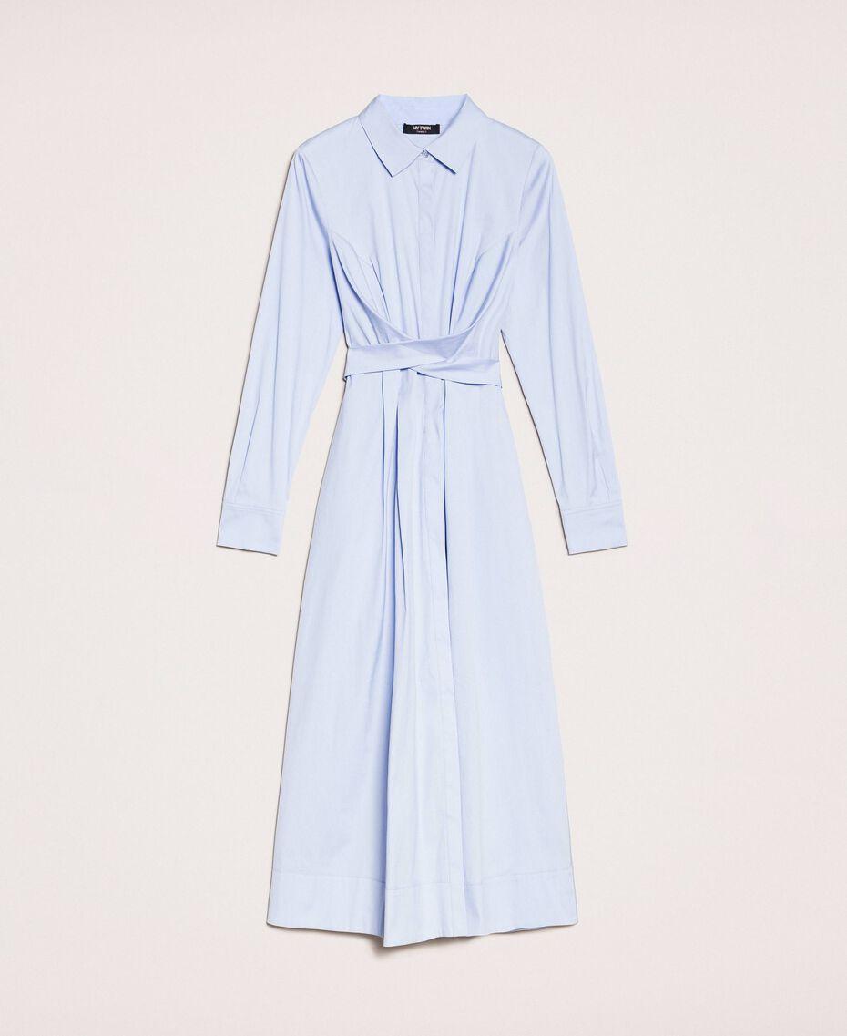 Long poplin shirt dress Sky Blue Woman 201MP218C-0S