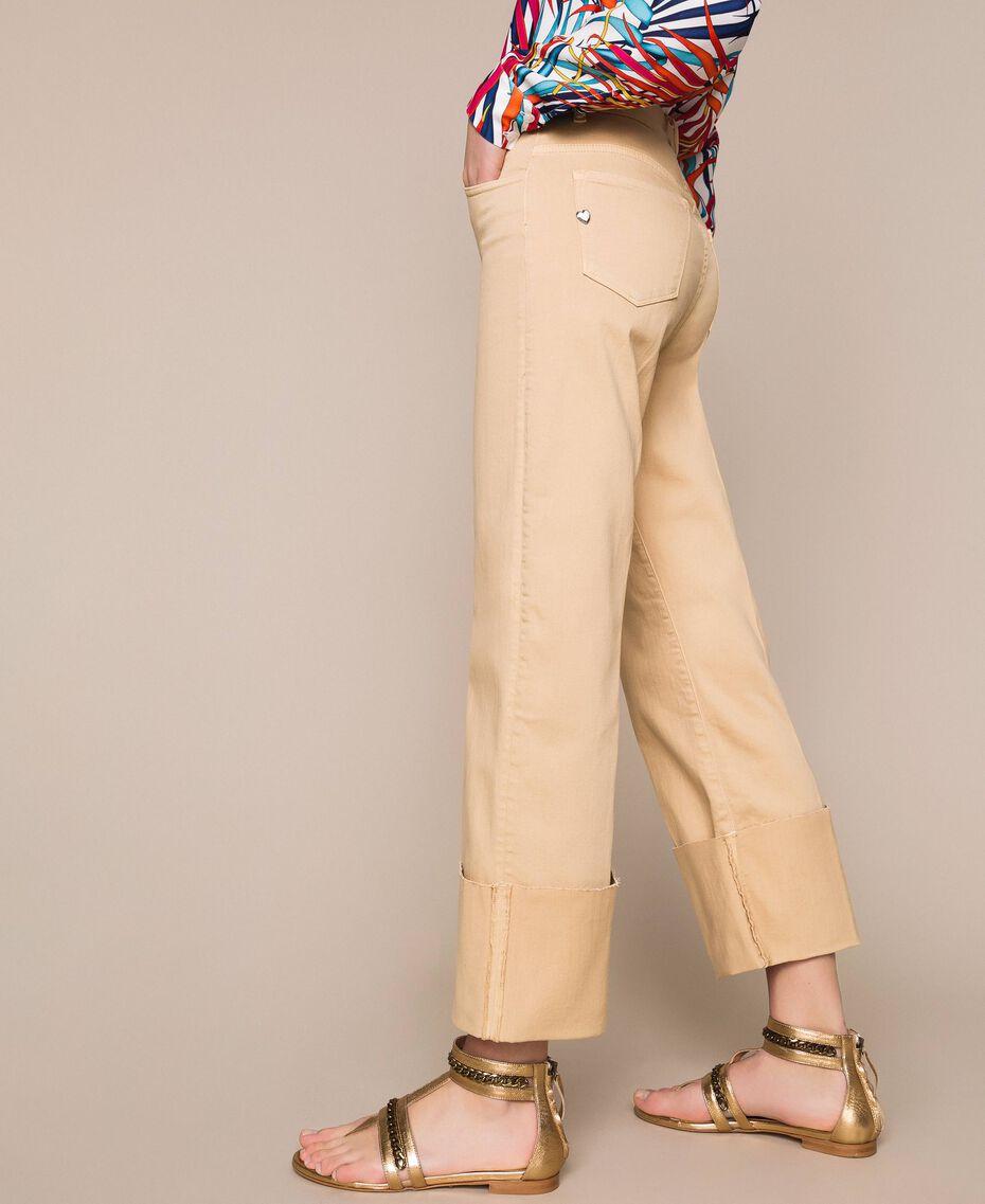 Pantalon cropped avec revers Beige Chocolat au lait Femme 201MT2362-01