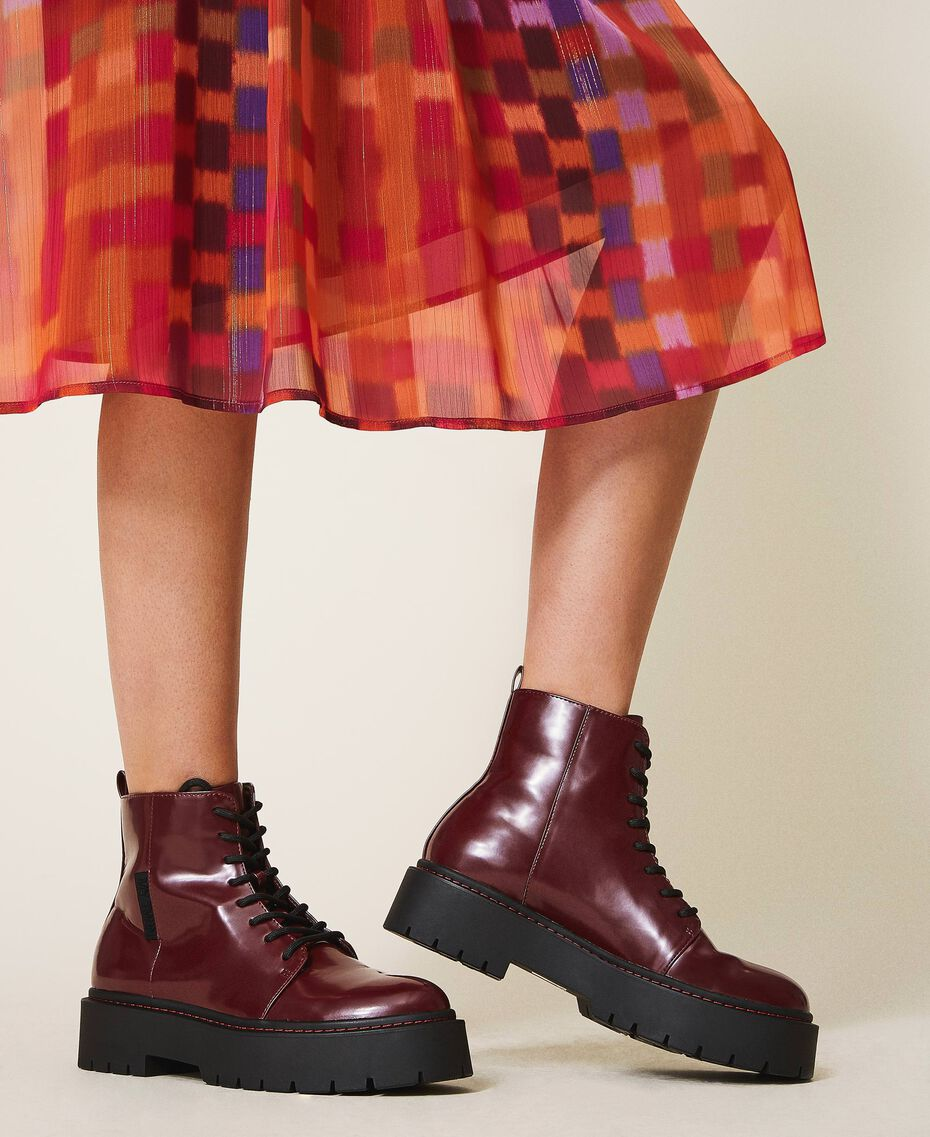 """Faux leather combat boots """"Wine tasting"""" Purple Woman 202MCT140-0S"""