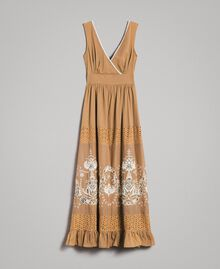 """Voile long dress with broderie anglaise embroidery Two-tone """"Savannah"""" Beige / Ecru Woman 191ST2114-0S"""