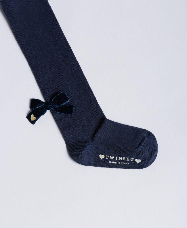 Collants en coton avec nœud Bleu Blackout Enfant FA8ABB-01