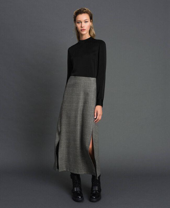 Cady and glen plaid dress Lurex Dark Grey Wales Design Woman 192TT2448-01