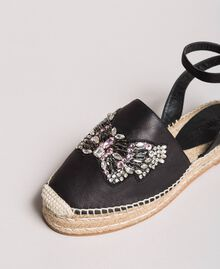 Leather espadrilles with jewelry butterfly Black Woman 191TCP10A-05