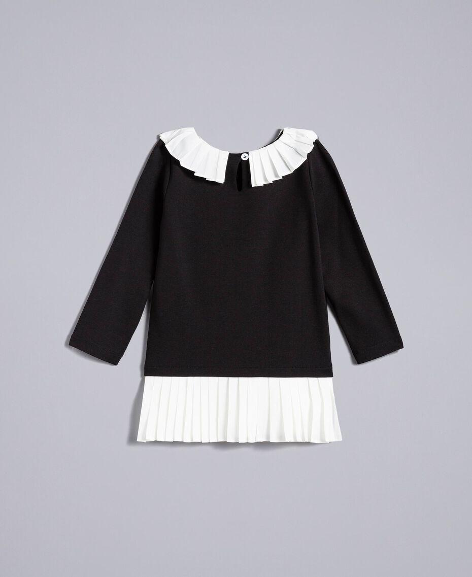 Kleid aus Interlock-Jersey Zweifarbig Schwarz / Off White Kind FA82FN-0S