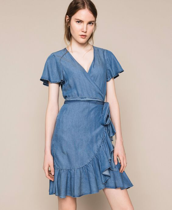 Flowing denim dress with flounce