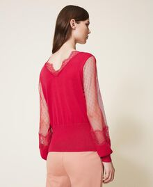 """Tulle and lace jumper """"Cerise"""" Fuchsia Woman 202TP3381-03"""