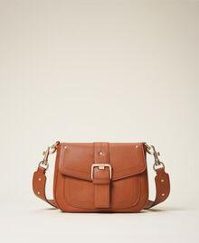 Round Rebel shoulder bag Leather Brown Woman 202TD8172-01