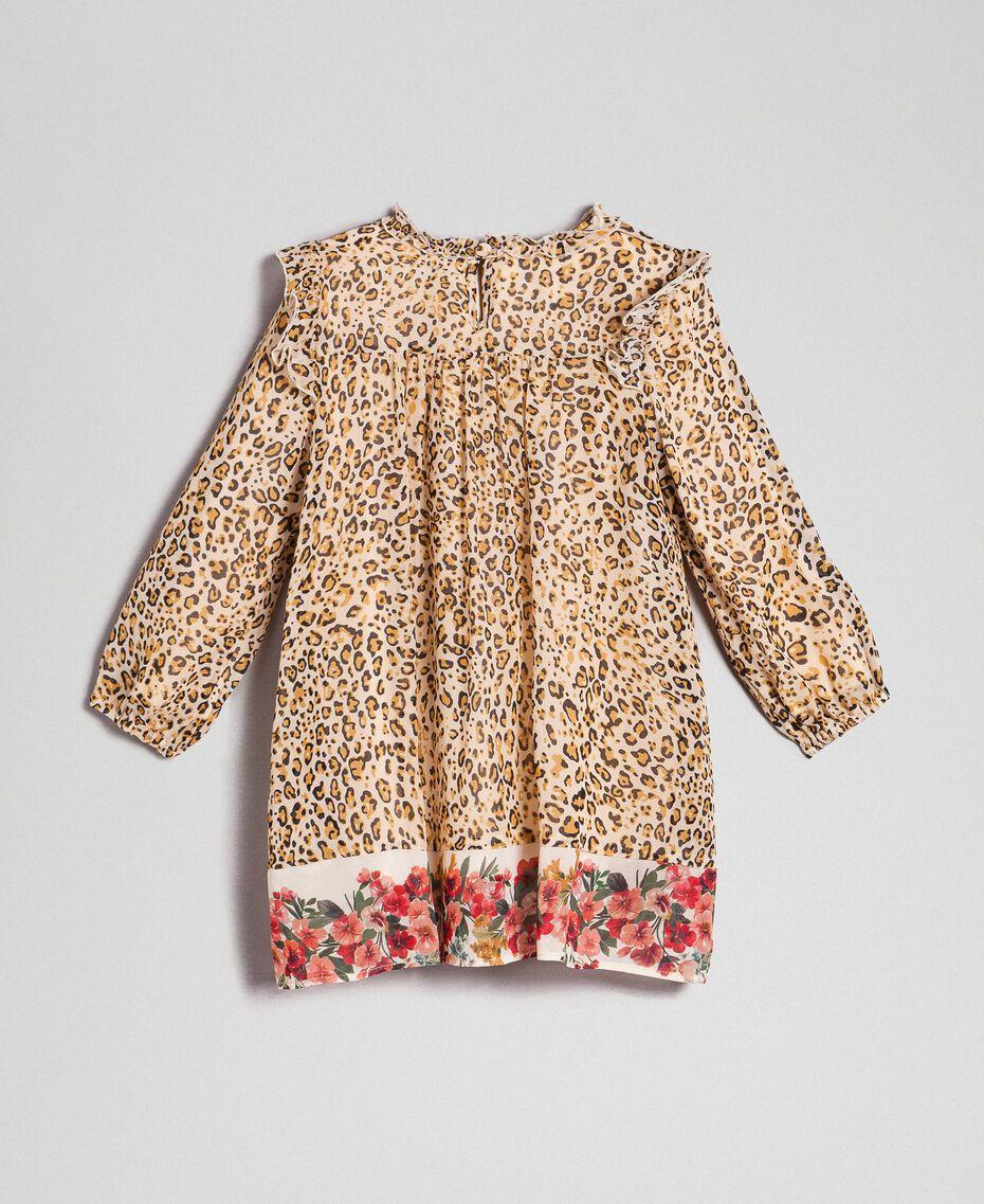 Kleid aus Georgette mit Animal-Print Print Leopard / Blumen Kind 192GB2570-0S
