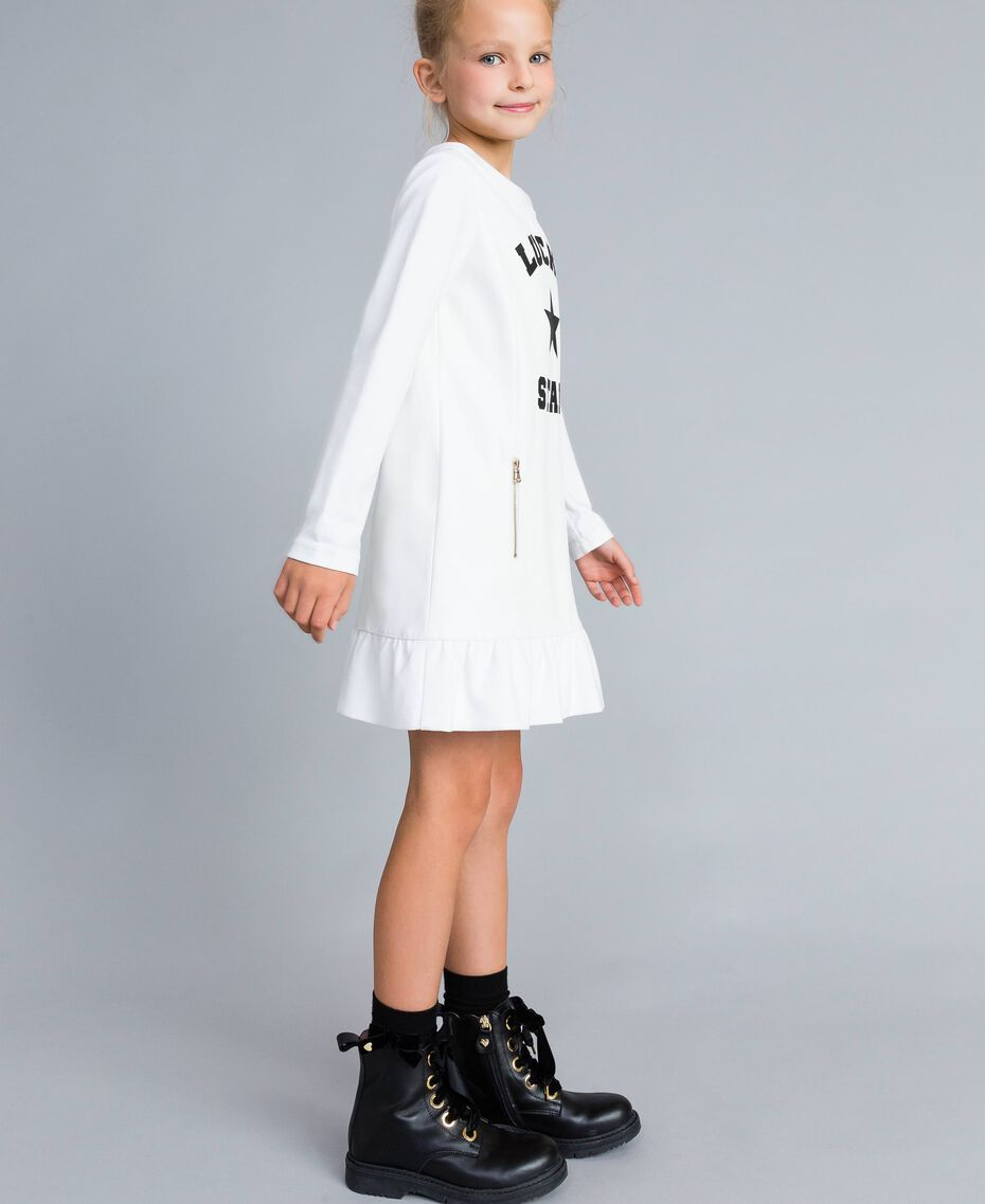 Milan stitch faux leather dress Off White Child GA82LU-02