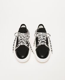 Mesh trainers with animal print detail Two-tone Black / Animal Print Woman 201MCP132-05