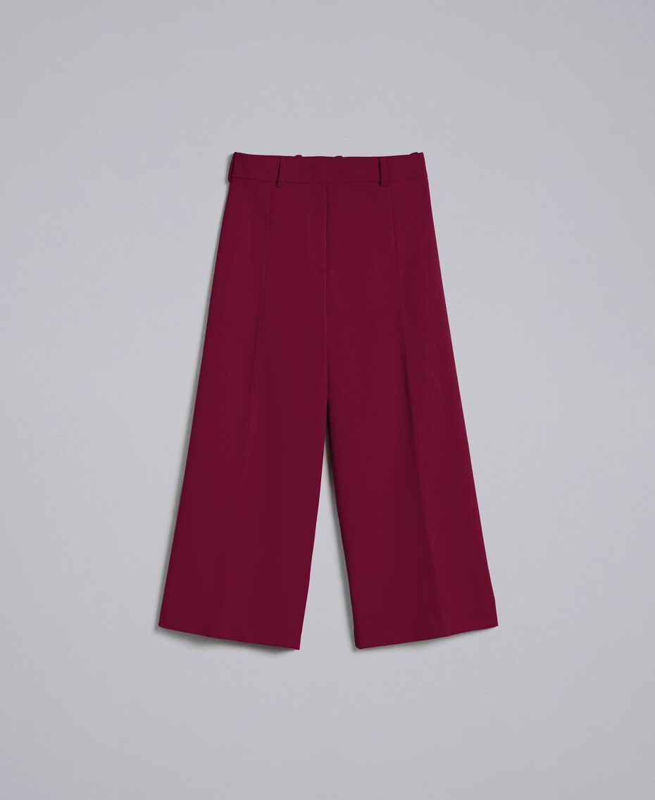 Cool wool cropped trousers Bordeaux Woman PA823N-0S