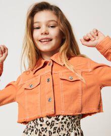 """Cropped bull jacket with logo """"Iceland Poppy"""" Orange Child 211GJ206B-05"""