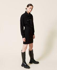 Robe en maille avec empiècements en satin Noir Femme 212AP3191-03