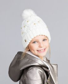 Вязанная шапочка в косичку со стразами Off White Pебенок GA8HCU-0S