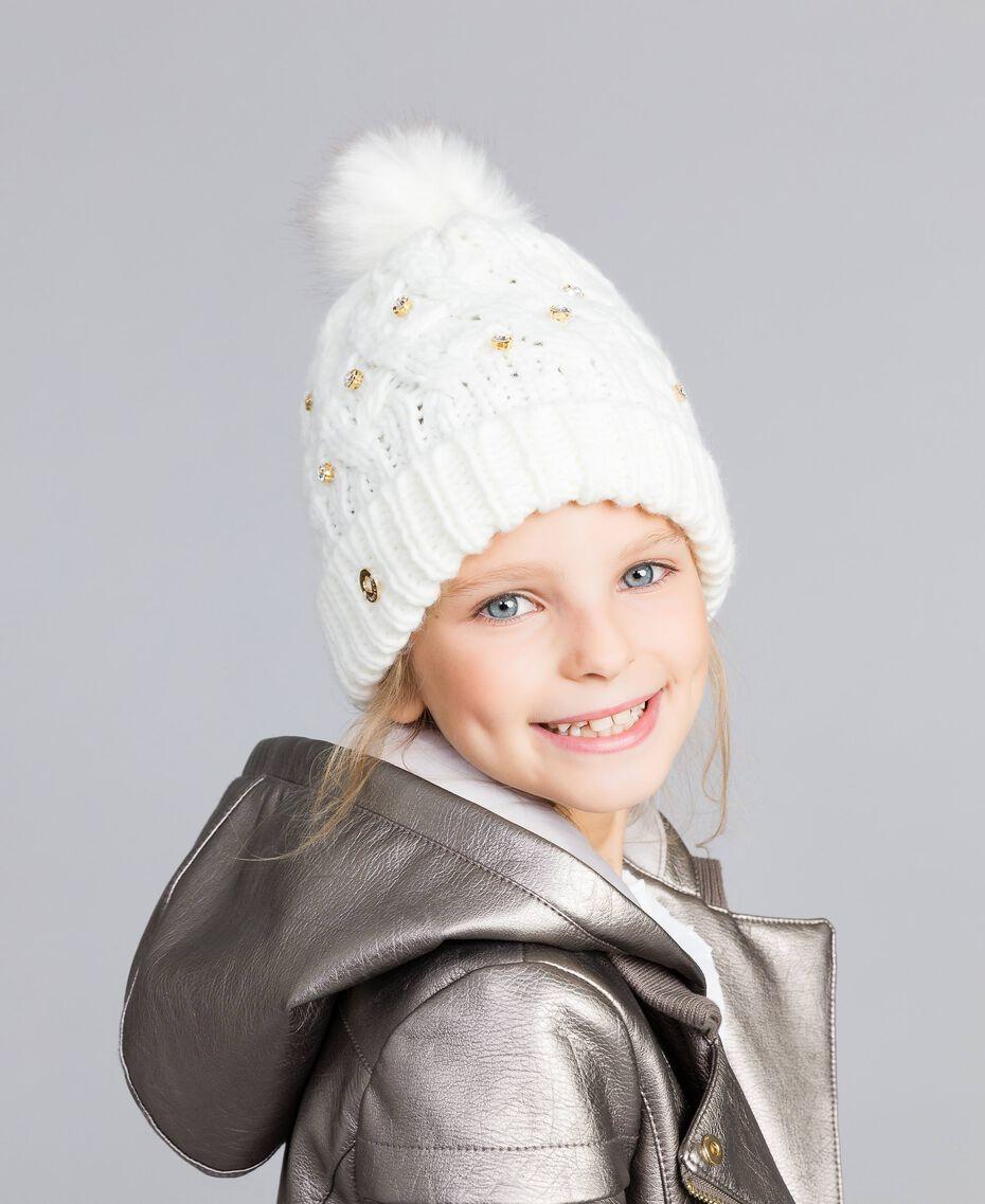Bonnet en maille torsadée avec strass Off White Enfant GA8HCU-0S