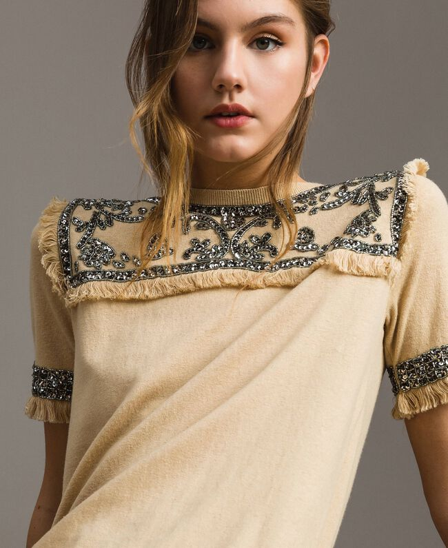 "Embroidered linen blend dress with fringed trim ""Marzipan"" Beige Woman 191TT3050-04"