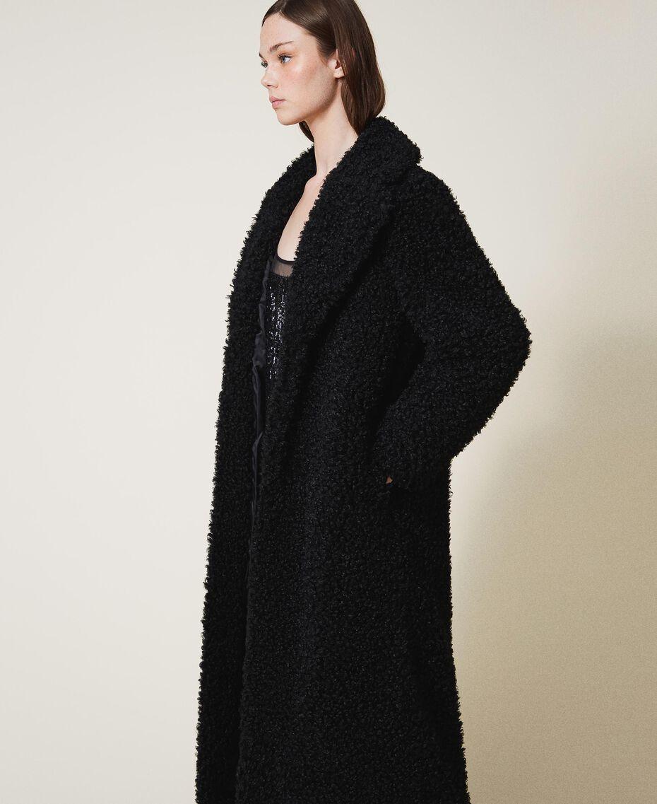 Manteau long en fausse fourrure Noir Femme 202MP2271-02