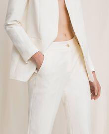 Pantalon cigarette en lin mélangé Blanc Neige Femme 201TP2256-02