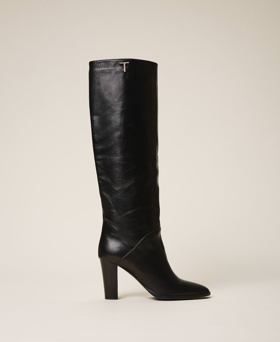 Leather high boots Black Woman 202TCT084-02