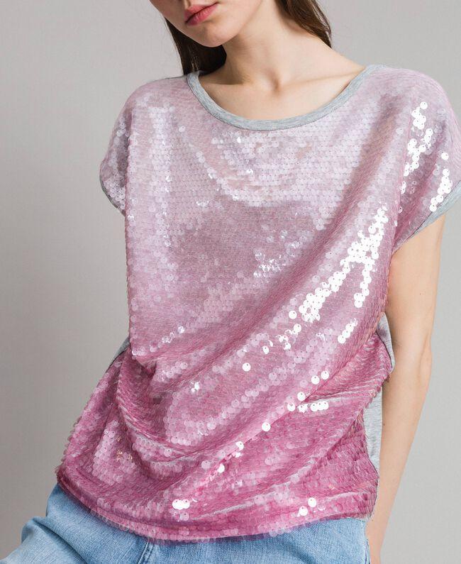 T-shirt avec sequins dégradés Bicolore Mélange Gris Clair / Rose Hortensia Femme 191MP2062-04