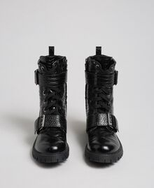 Leather combat boots with crocodile print Black Crocodile Print Woman 192TCT02L-05