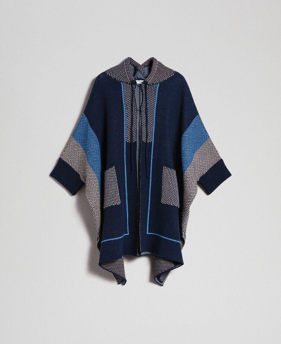 Cape en laine mélangée avec motifs jacquard Jacquard Chevrons Bleu Nuit Femme 192ST3030-0S